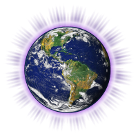 Image of earth in center of Earth Release Logo